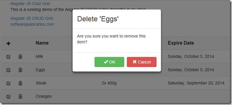 Angular JS CRUD Grid. Delete confirmation