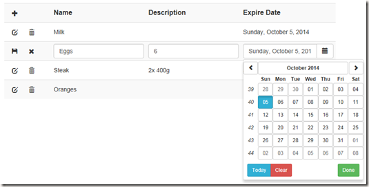 Angular JS CRUD Grid. Date picker.