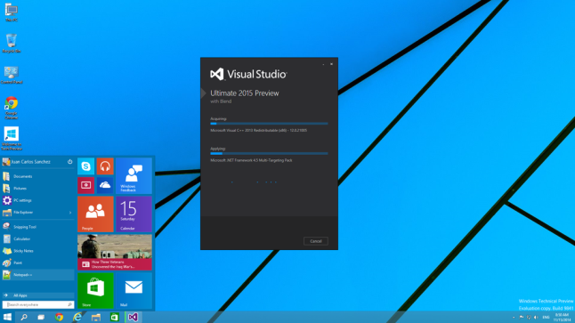 VisualStudio2015 in Windows10