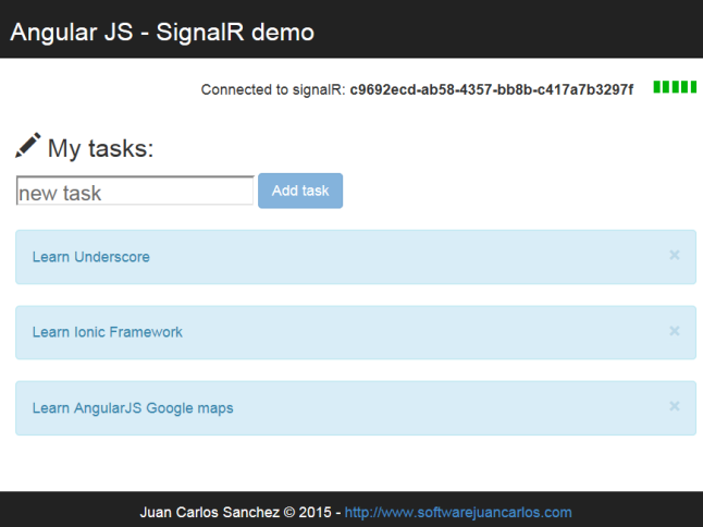Screenshot of the signalR and angularJS app.